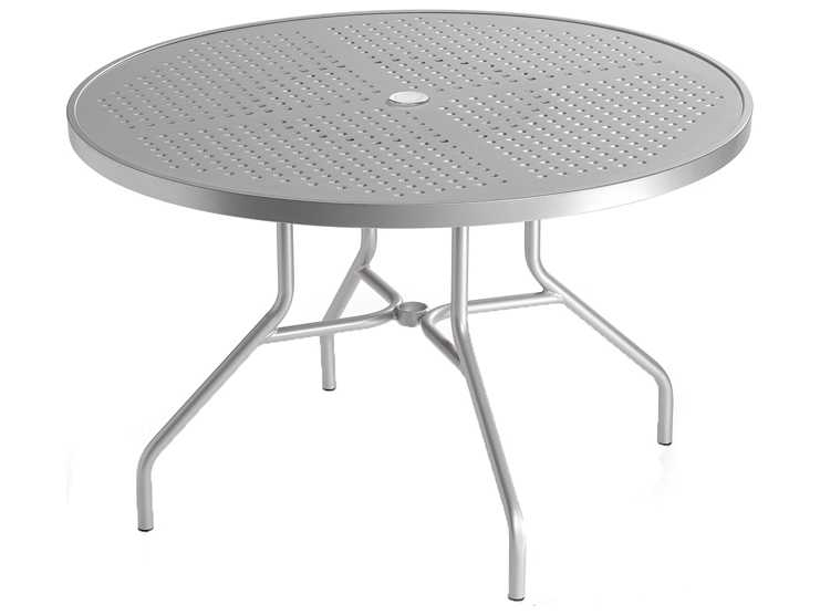 Tropitone boulevard aluminum 42 round dining table with - Aluminium picnic table with umbrella ...
