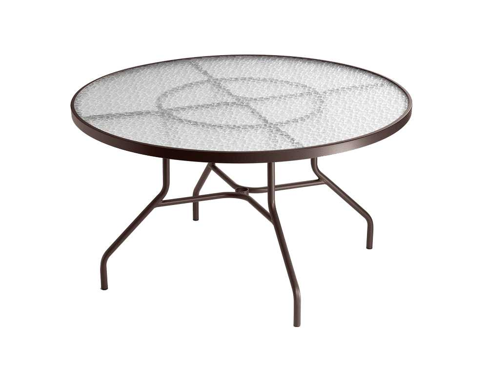 Tropitone cast aluminum 48 round dining table with - Aluminium picnic table with umbrella ...