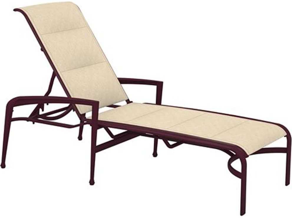 Tropitone veer padded sling aluminum chaise lounge 670832ps for Aluminum sling chaise lounge