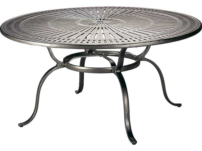 Tropitone kd spectrum cast aluminum 55 round dining table - Aluminium picnic table with umbrella ...