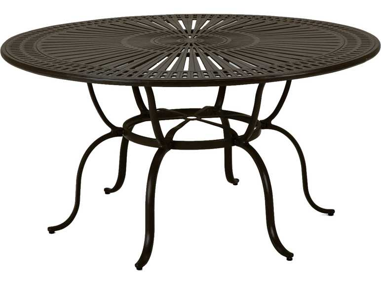Tropitone kd spectrum cast aluminum 66 round dining table - Aluminium picnic table with umbrella ...
