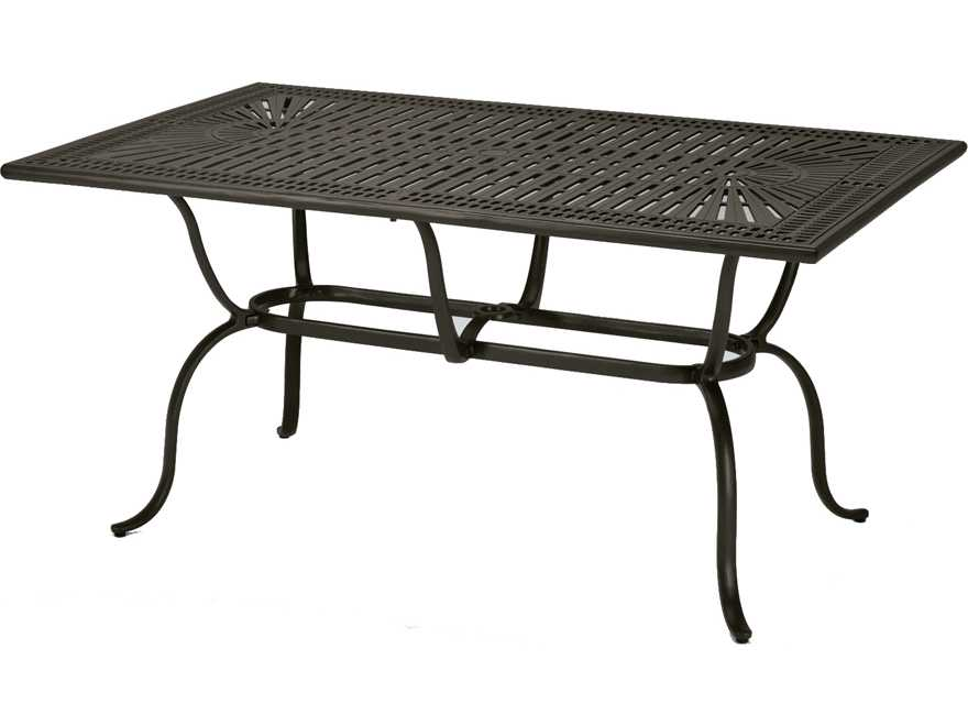 Tropitone kd spectrum cast aluminum 70 x 43 rectangular - Aluminium picnic table with umbrella ...