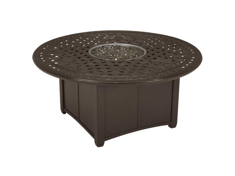 Tropitone garden terrace aluminum 55 round fire pit table for Concreteworks fire table