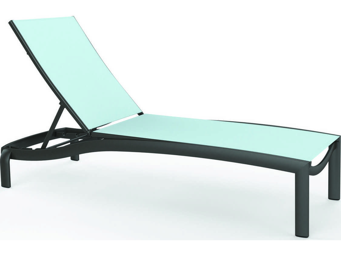 Tropitone kor relaxed sling aluminum chaise lounge armless for Aluminum sling chaise lounge