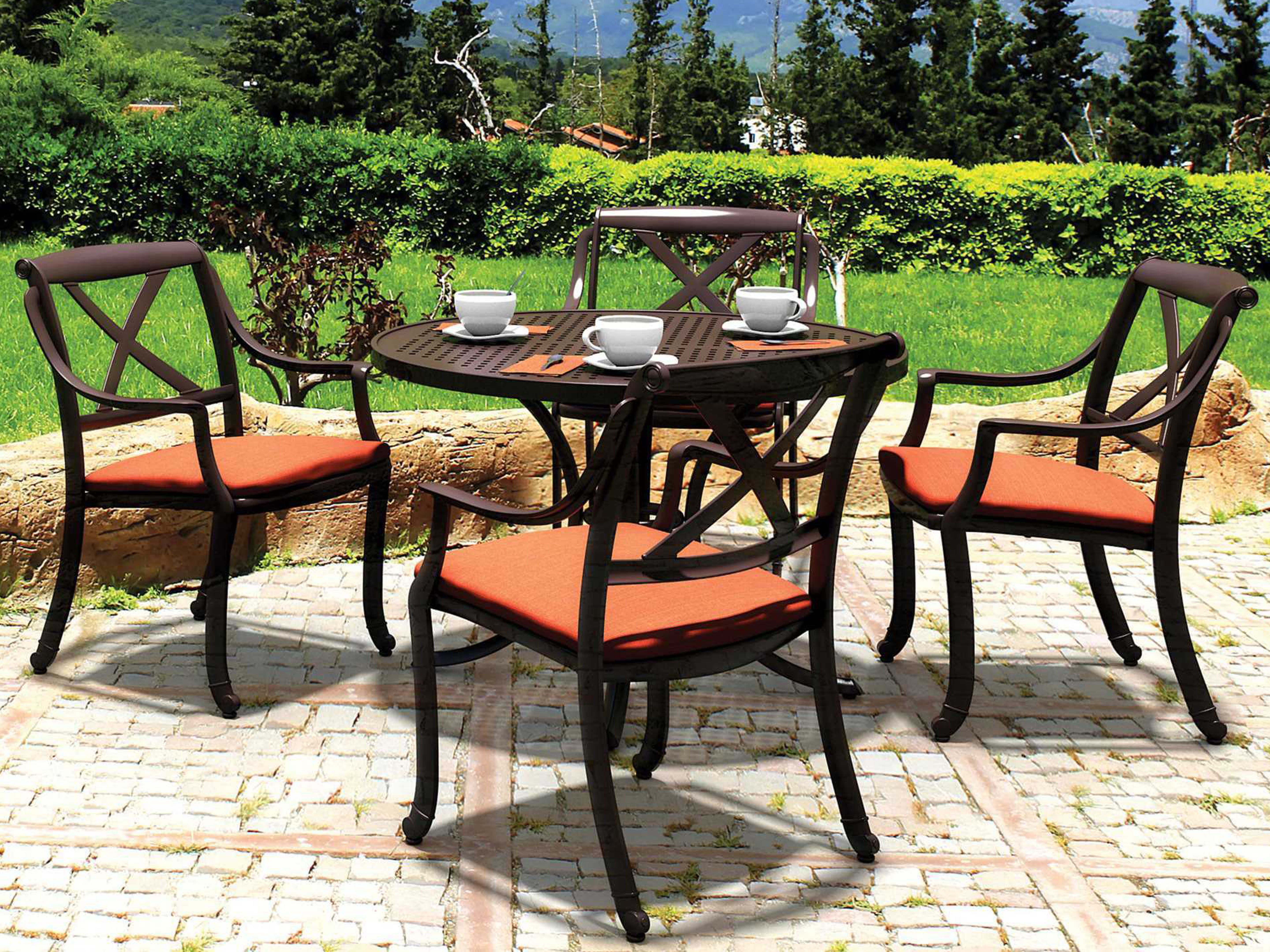 Tropitone Belmar Xback Cast Aluminum Dining Chair With Seat Pad - Tropitone outdoor furniture