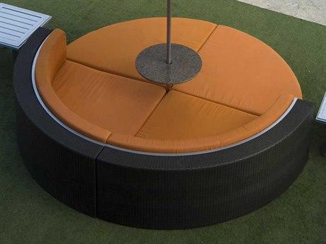 Tropitone Cabana Club Woven Wicker 4 Person Cushion Conversation Patio Lounge Set