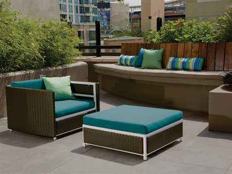 Tropitone Cabana Club Woven Wicker 1 Person Cushion Conversation Patio Lounge Set