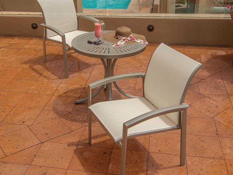 Tropitone Elance Relaxed Sling Aluminum 2 Person Sling Bistro Patio Dining Set