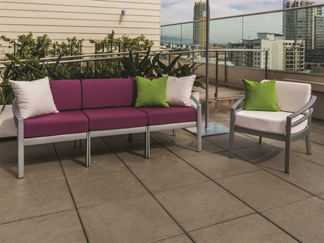 Tropitone Kor Cushion Aluminum 4 Person Cushion Conversation Patio Lounge Set