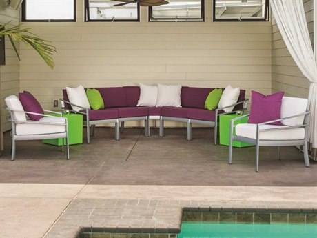 Tropitone Kor Cushion Aluminum 2 Person Cushion Sectional Patio Lounge Set