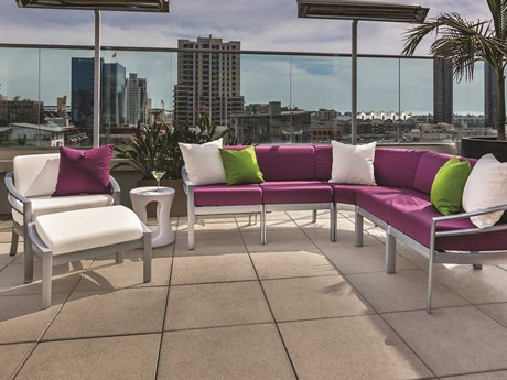 Tropitone Kor Cushion Aluminum 7 Person Cushion Sectional Patio Lounge Set