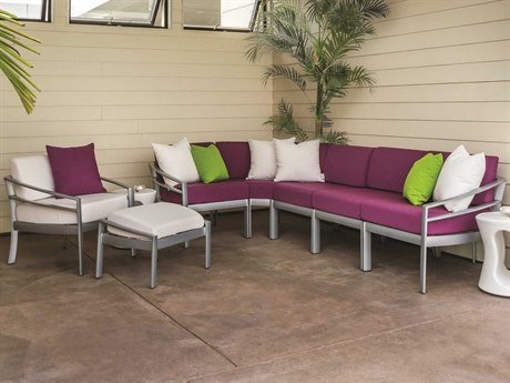 Tropitone Kor Cushion Aluminum 6 Person Cushion Sectional Patio Lounge Set