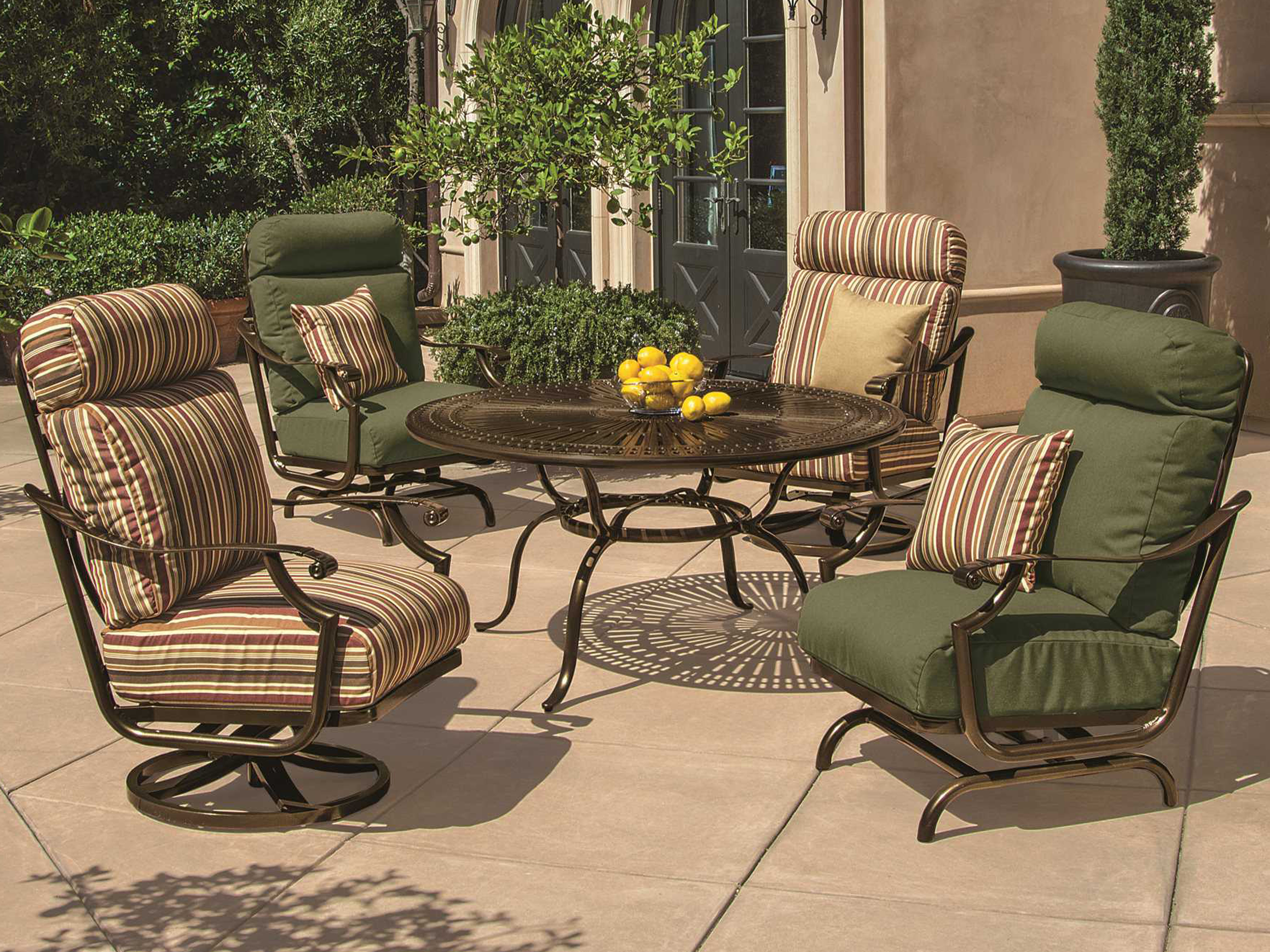 Tropitone Kd Spectrum Cast Aluminum  Round Chat Table With - Tropitone outdoor furniture