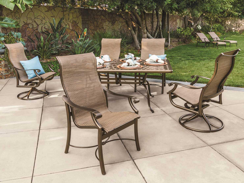 Tropitone Kd Garden Terrace Cast Aluminum 70 X 43 Rectangular Dining Table Wi