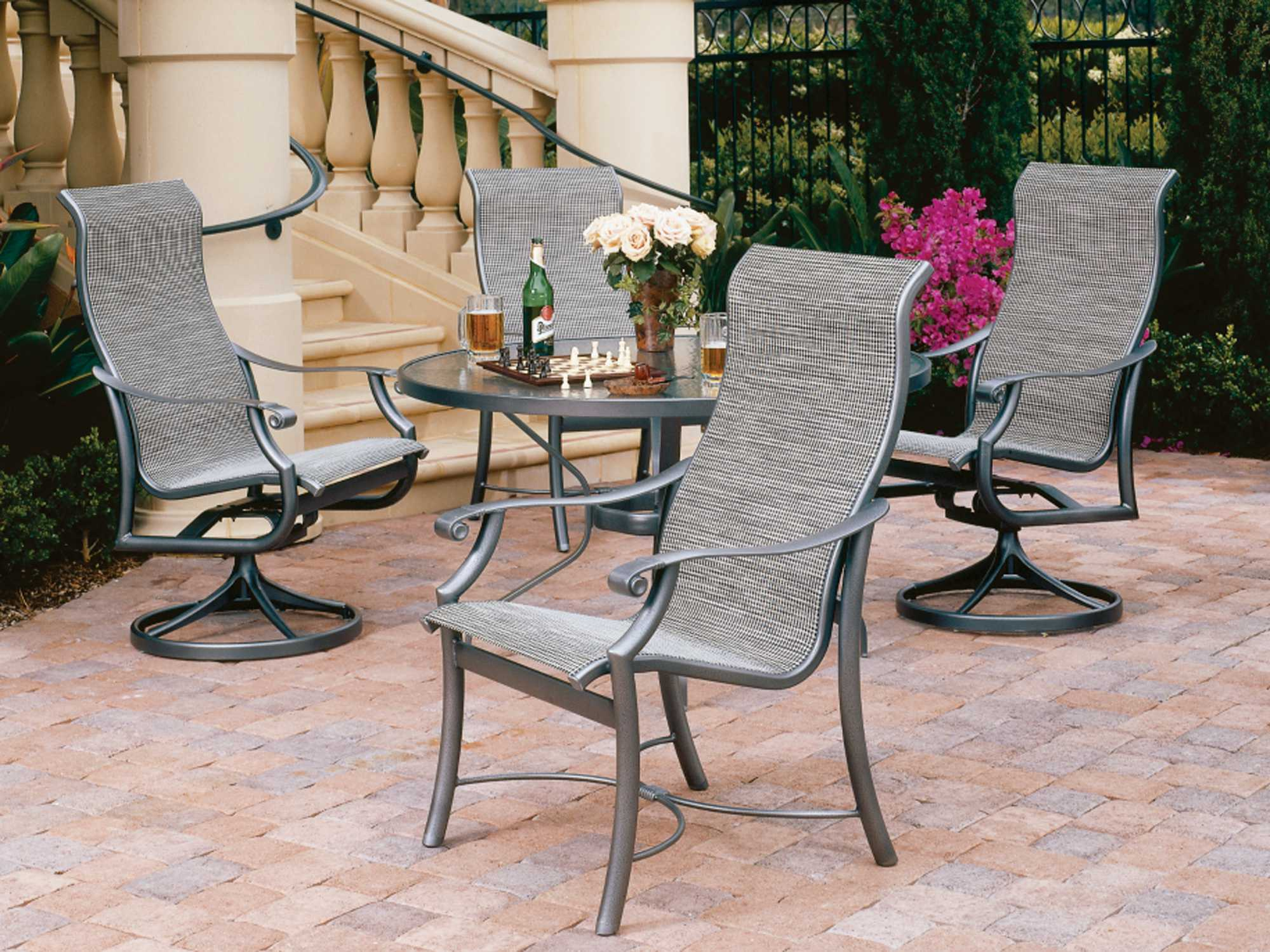 Tropitone Montreux Sling Aluminum Dining Set MTSDS - Tropitone outdoor furniture