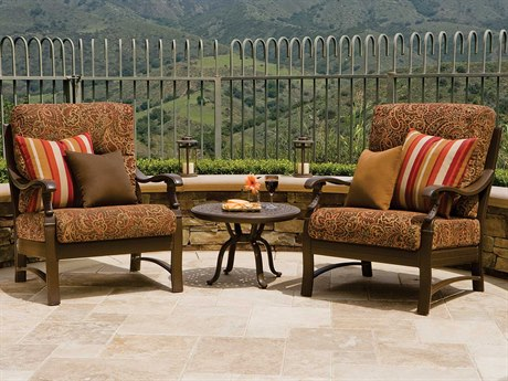Tropitone Ravello Cushion Aluminum 7 Person Cushion Conversation Patio Lounge Set