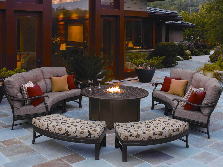 Tropitone Garden Terrace Aluminum  Round Fire Pit Table FP - Tropitone outdoor furniture