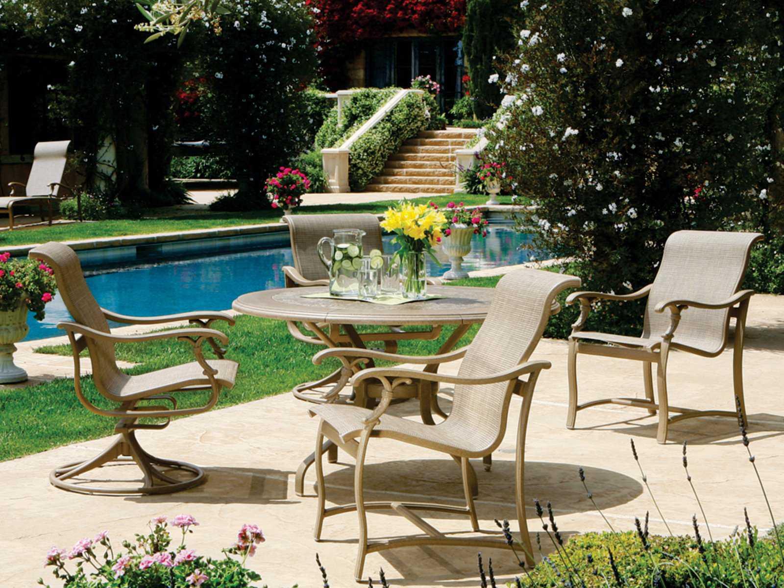 Tropitone Ravello Sling Aluminum Dining Set RVSDS - Tropitone outdoor furniture