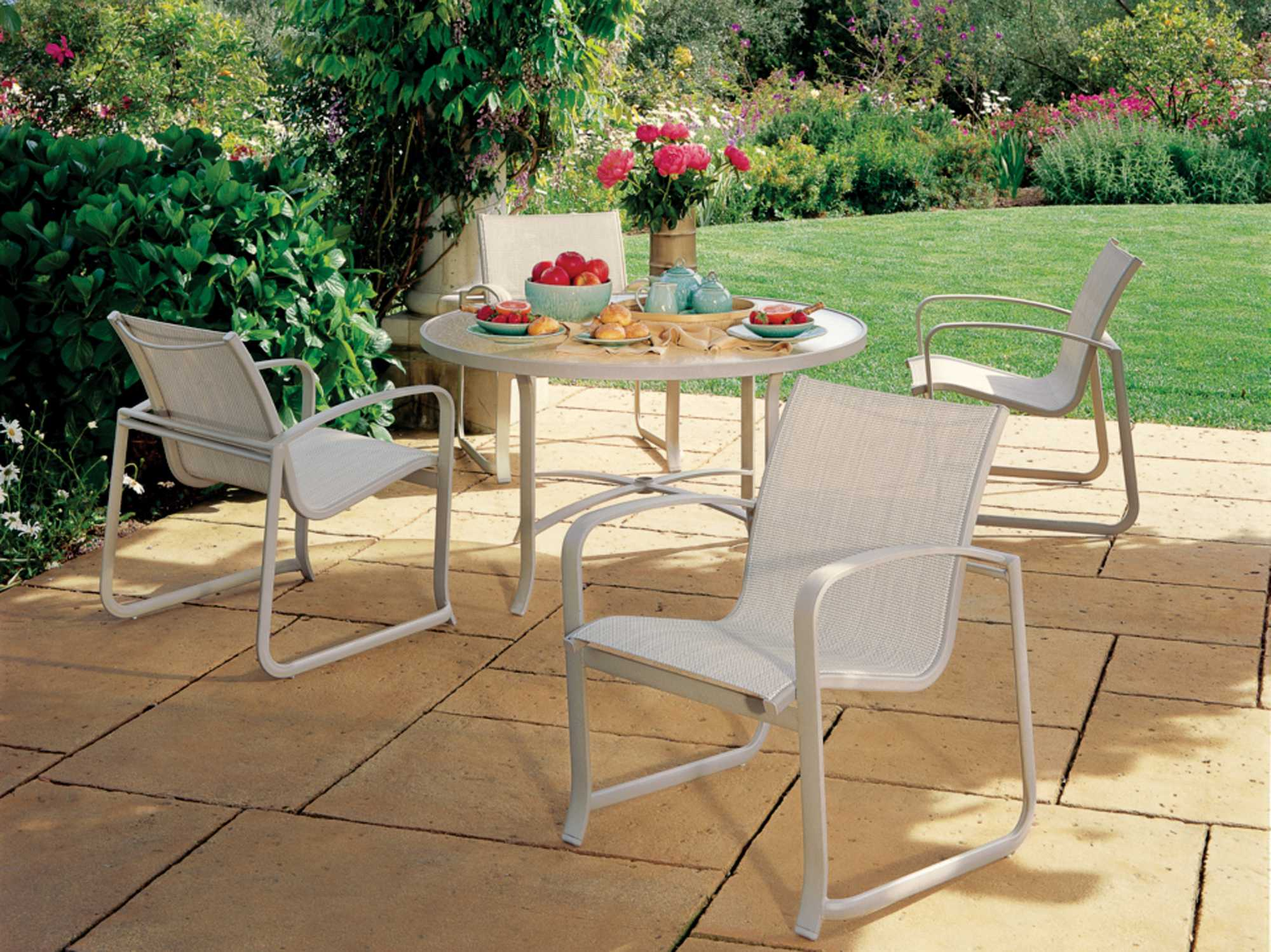 Tropitone spinnaker stackable aluminum dining chair 159924 Relaxed backyard deck ideas