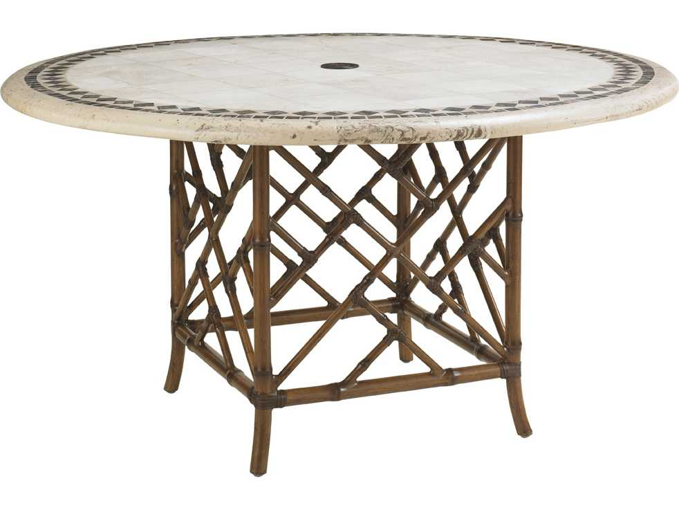 Tommy bahama outdoor island estate veranda aluminum for Round stone top dining table