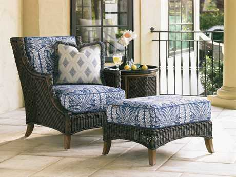 Tommy Bahama Island Estate Lanai Wicker 1 Person Cushion Conversation Patio Lounge Set