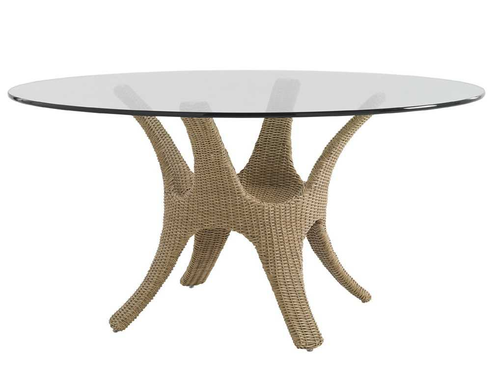 Tommy bahama outdoor aviano wicker 60 39 39 round glass top for Glass top outdoor dining table