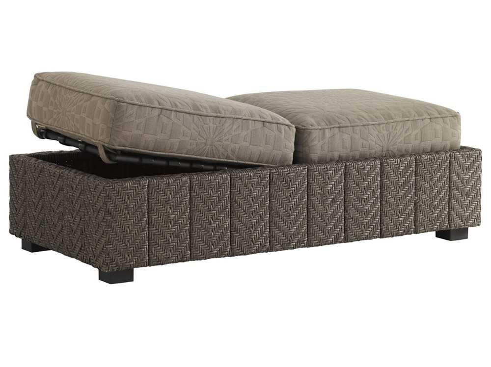 Tommy Bahama Outdoor Blue Olive Wicker Storage Ottoman