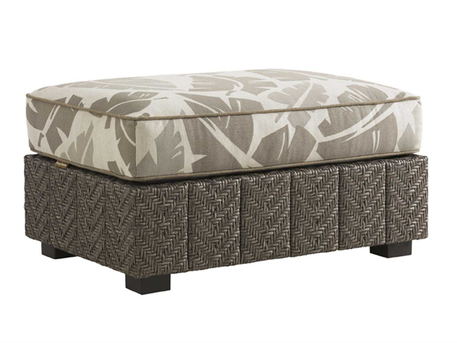 Tommy Bahama Outdoor Blue Olive Wicker Ottoman
