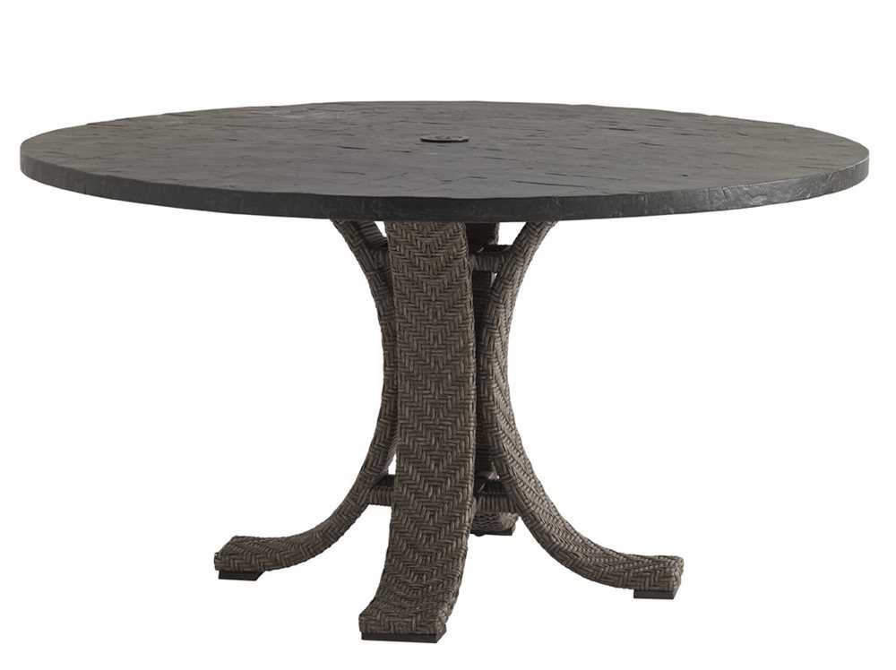 tommy bahama outdoor blue olive wicker 54 39 39 round weatherstone dining table 3230 870tbset. Black Bedroom Furniture Sets. Home Design Ideas
