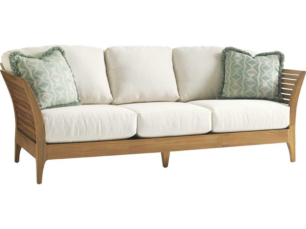 Tommy bahama outdoor tres chic teak cushion sofa 3401 33 for Sofa arcon terraza