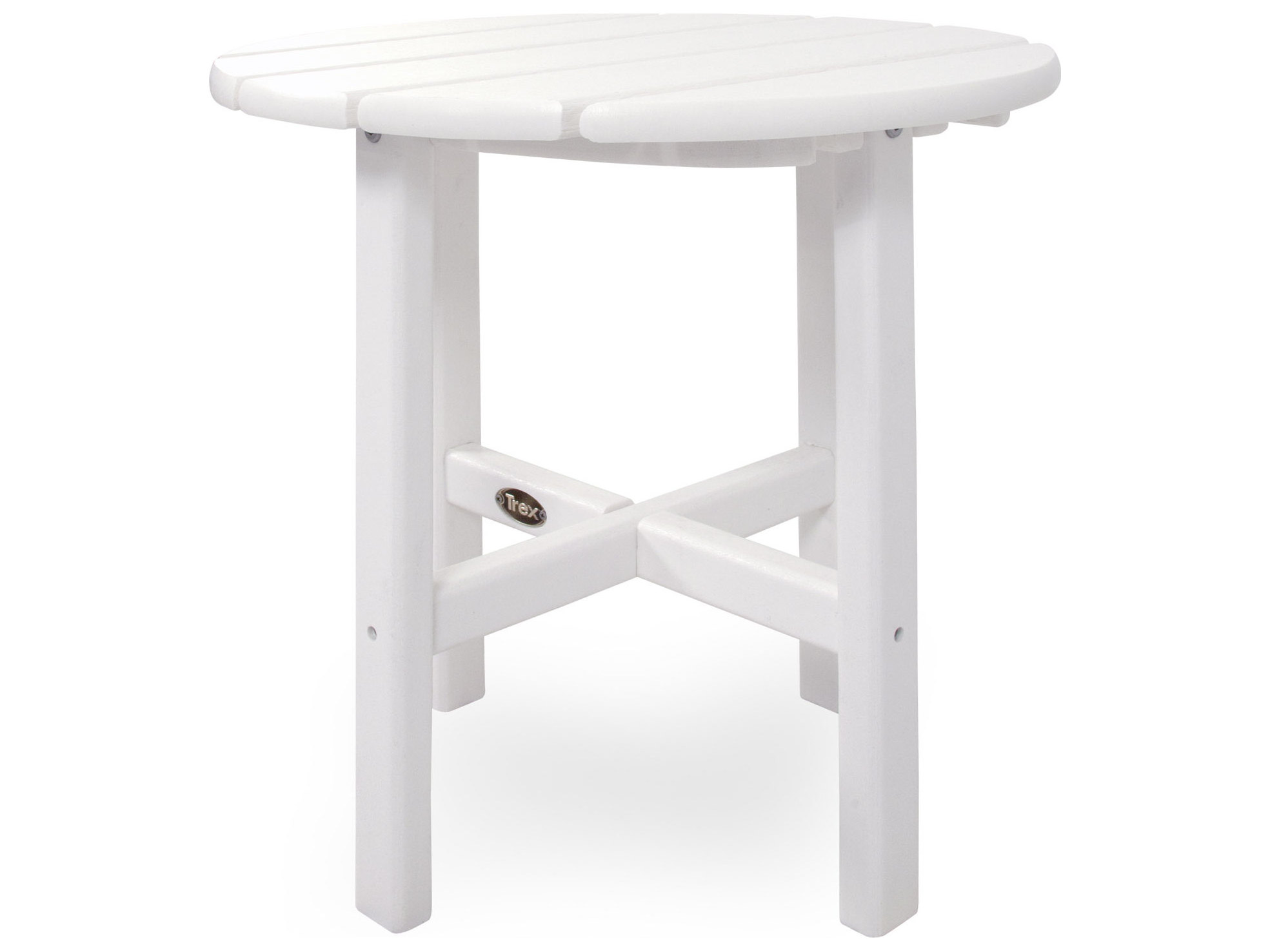 Trex cape cod recycled plastic 18 round side table txrst18 for Pvc patio table