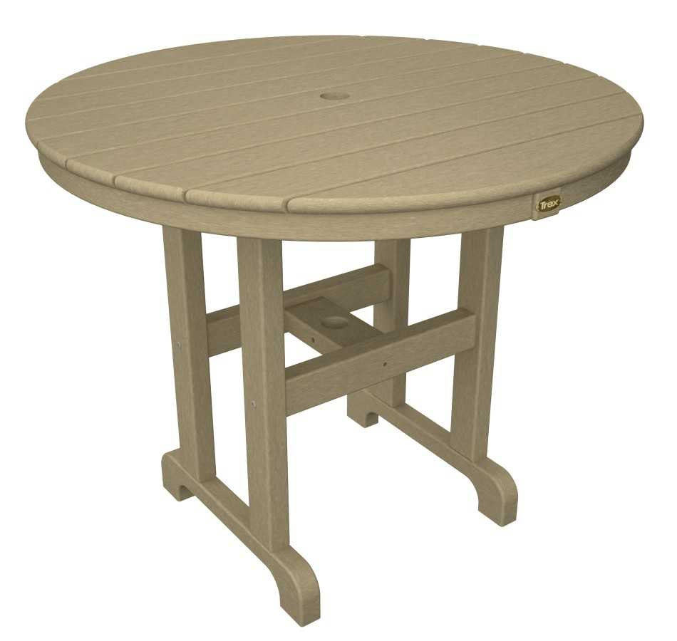 trex monterey bay recycled plastic 36 round dining table