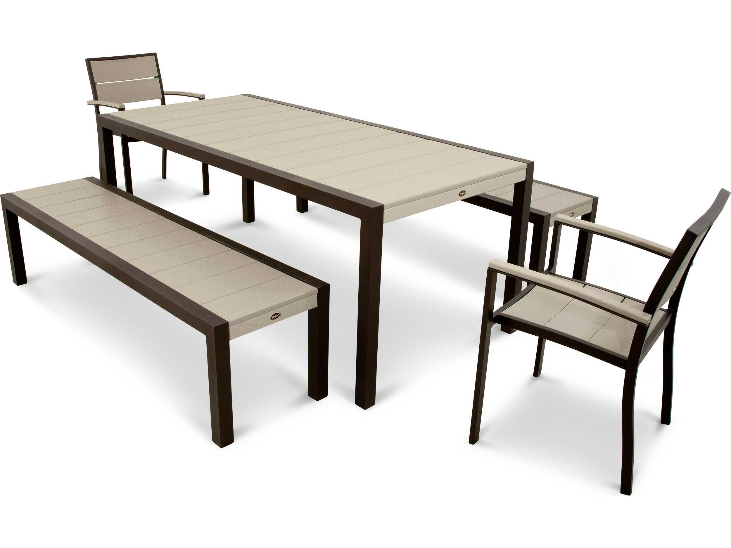 Trex Surf City Recycled Plastic 5 Piece Bench Dining Set Txs122 1
