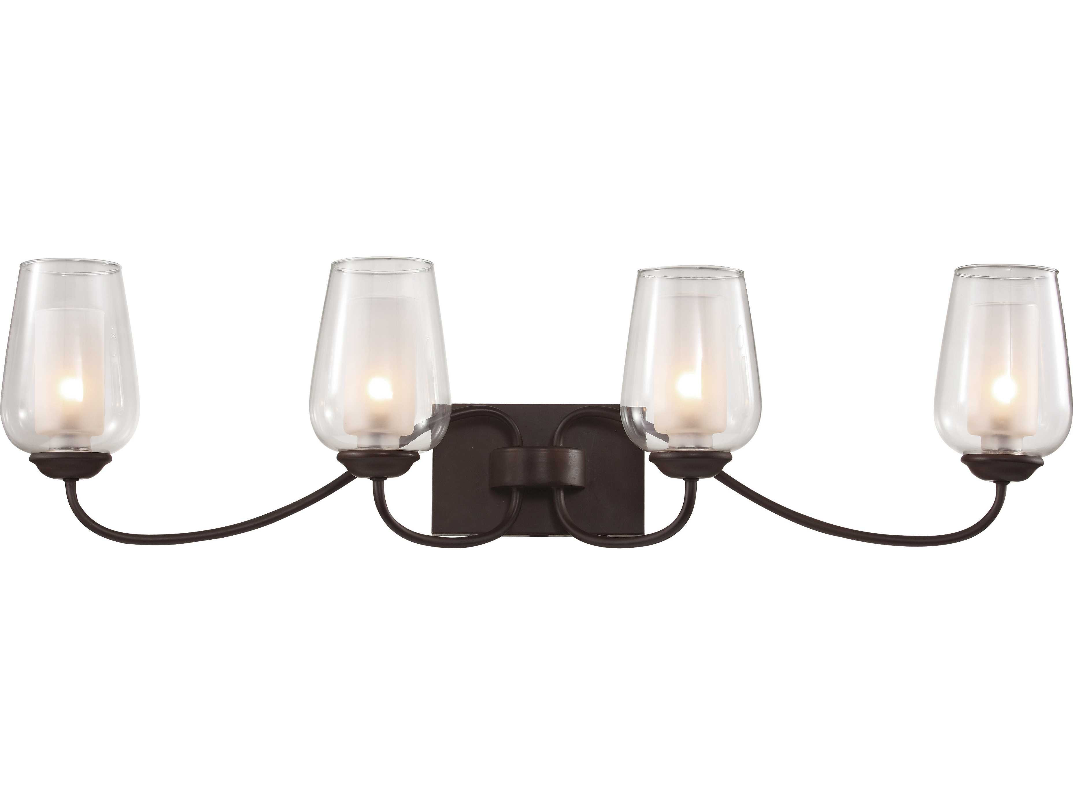 Trans Globe Lighting Rustic Lodge Oil Rubbed Bronze Four-Light Vanity Light 70384-ROB
