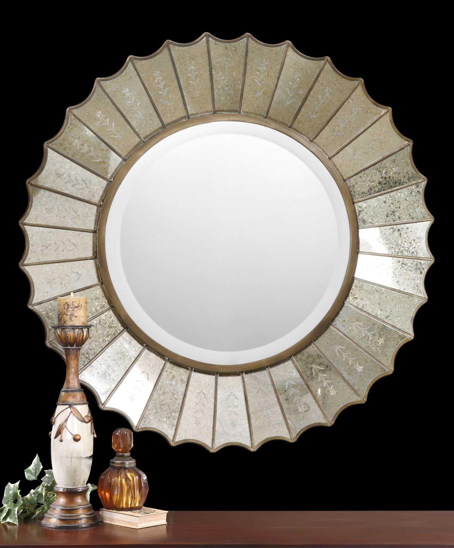Uttermost Amberlyn 32 Round Sunburst Gold Wall Mirror