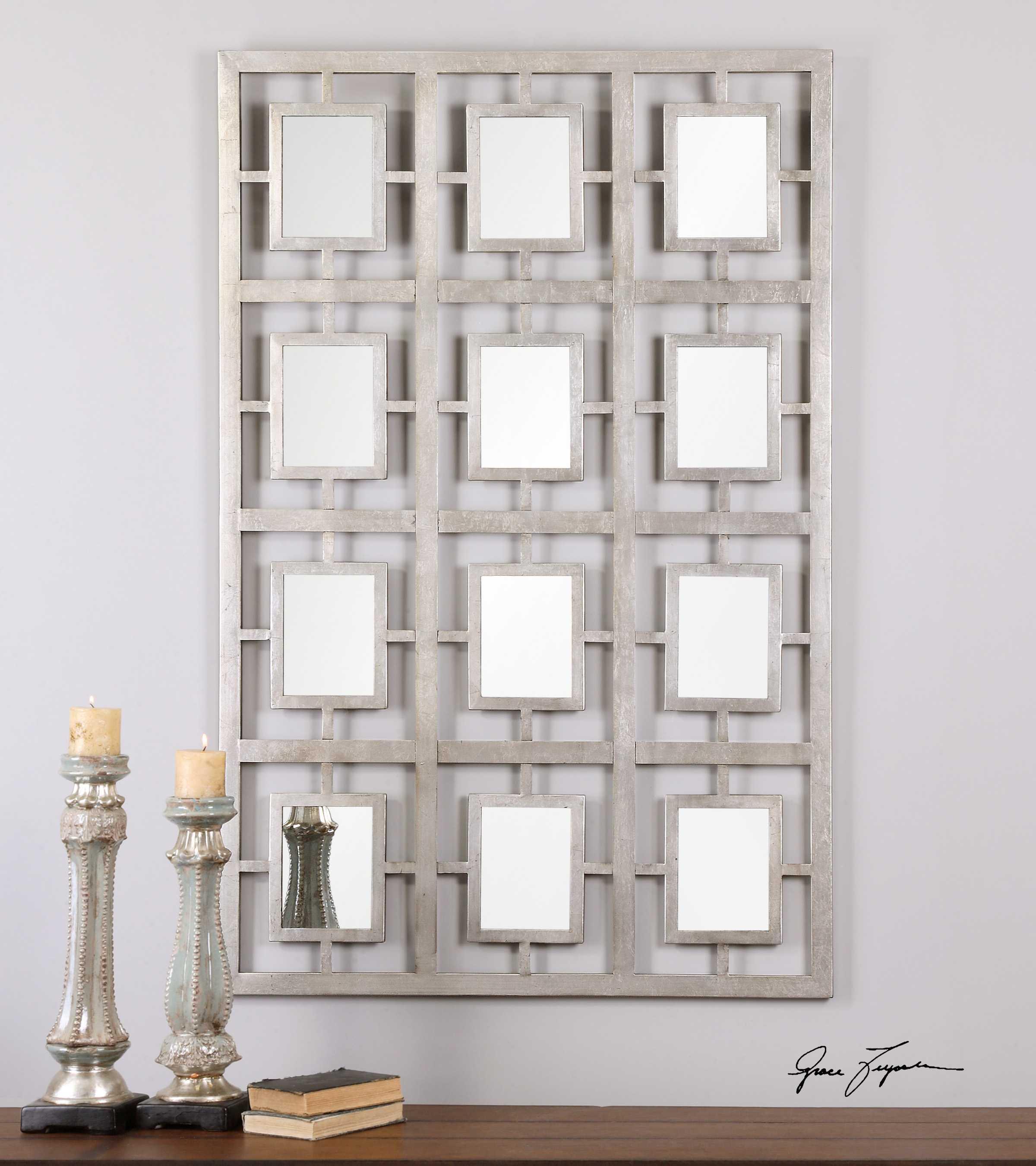 Uttermost dodici 40 x 60 silver wall mirror 13872 for Miroir 60 x 40