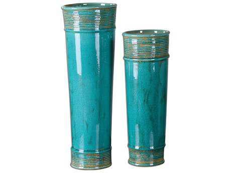 Uttermost Thane Teal Green Vase (2 Piece Set)