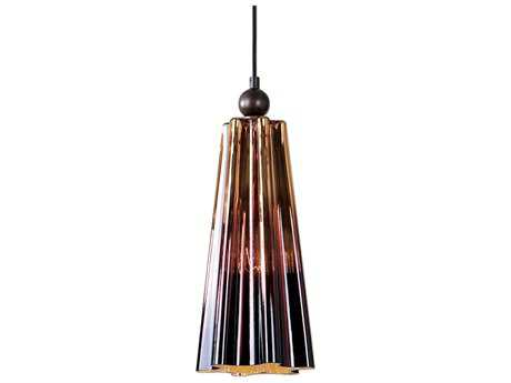 Uttermost Chocley Oil Rubbed Bronze & Chocolate Ombre Glass 7.5'' Wide Pendant