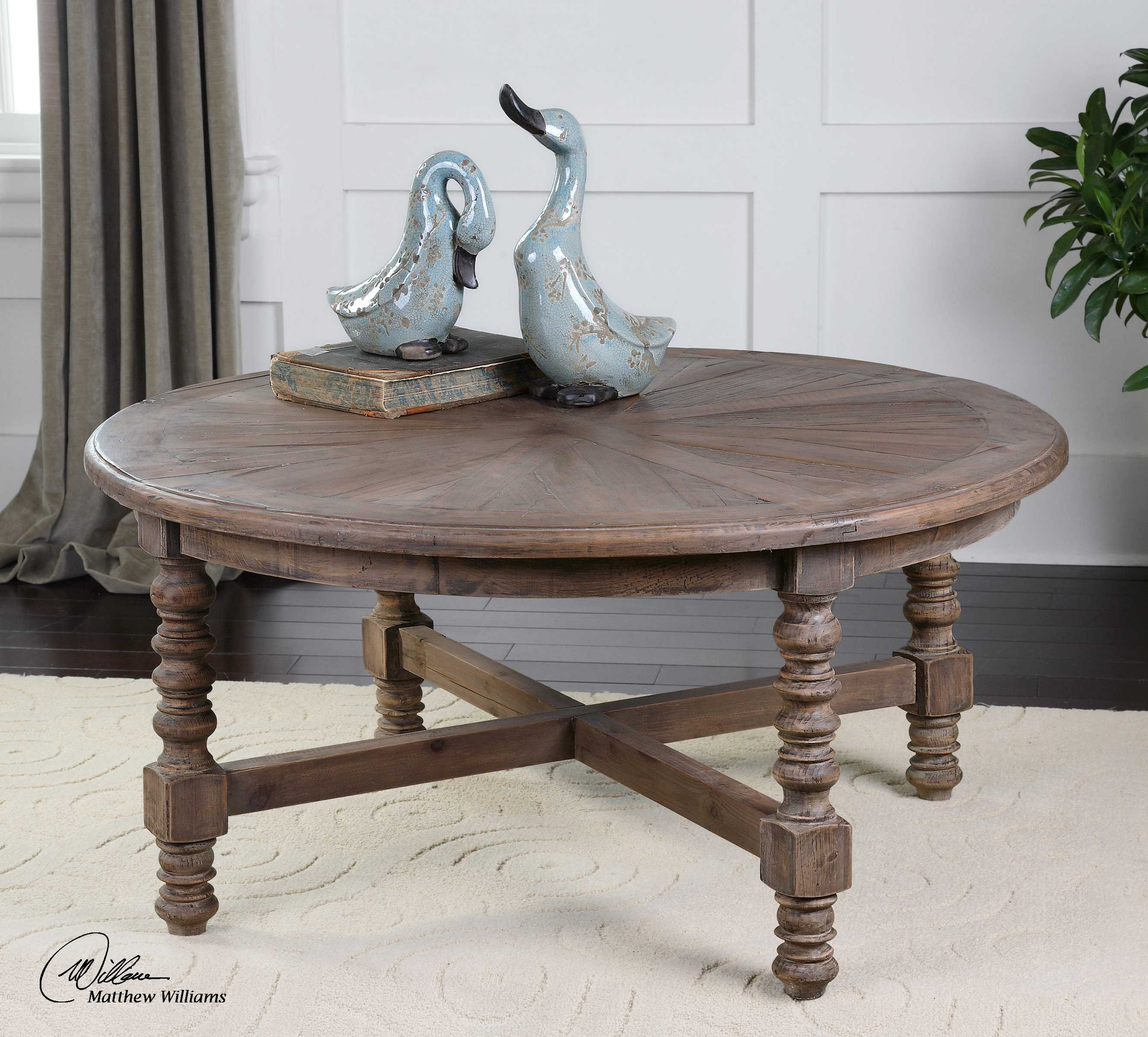 Round Coffee Table Natural Wood: Uttermost Samuelle 42 Round Wooden Coffee Table