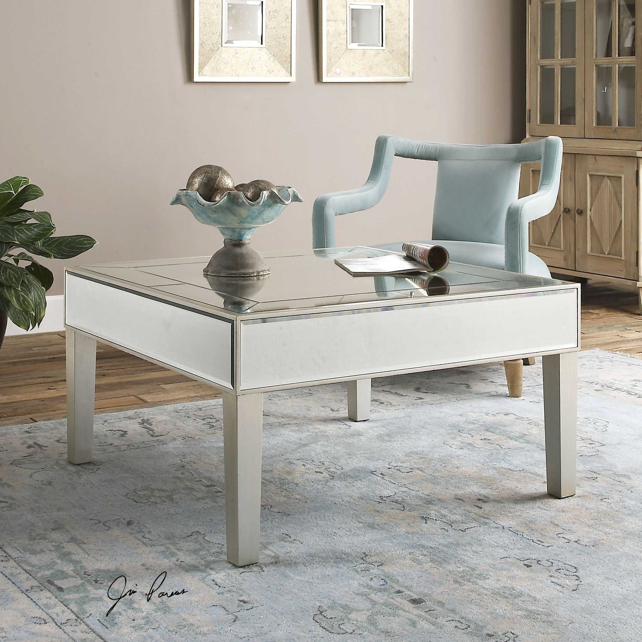 Low Square Mirrored Coffee Table: Uttermost Enrikos 36 Square Silver Leaf Mirrored Coffee