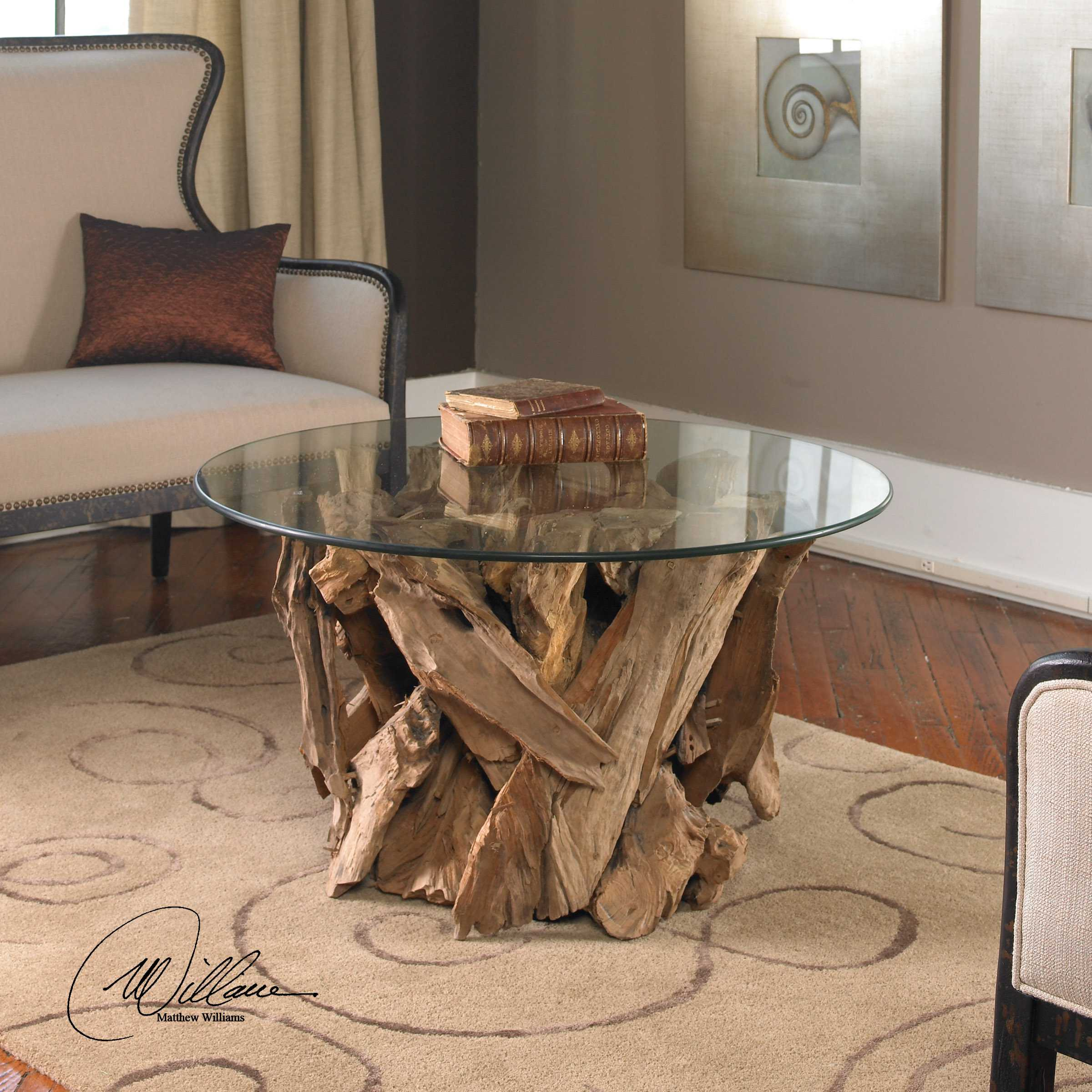 Uttermost Driftwood 36 Round Glass Top Cocktail Table 25519