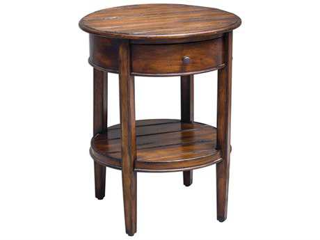 Uttermost Ranalt Rubbed Black & Weathered Honey 22' Round Accent Table