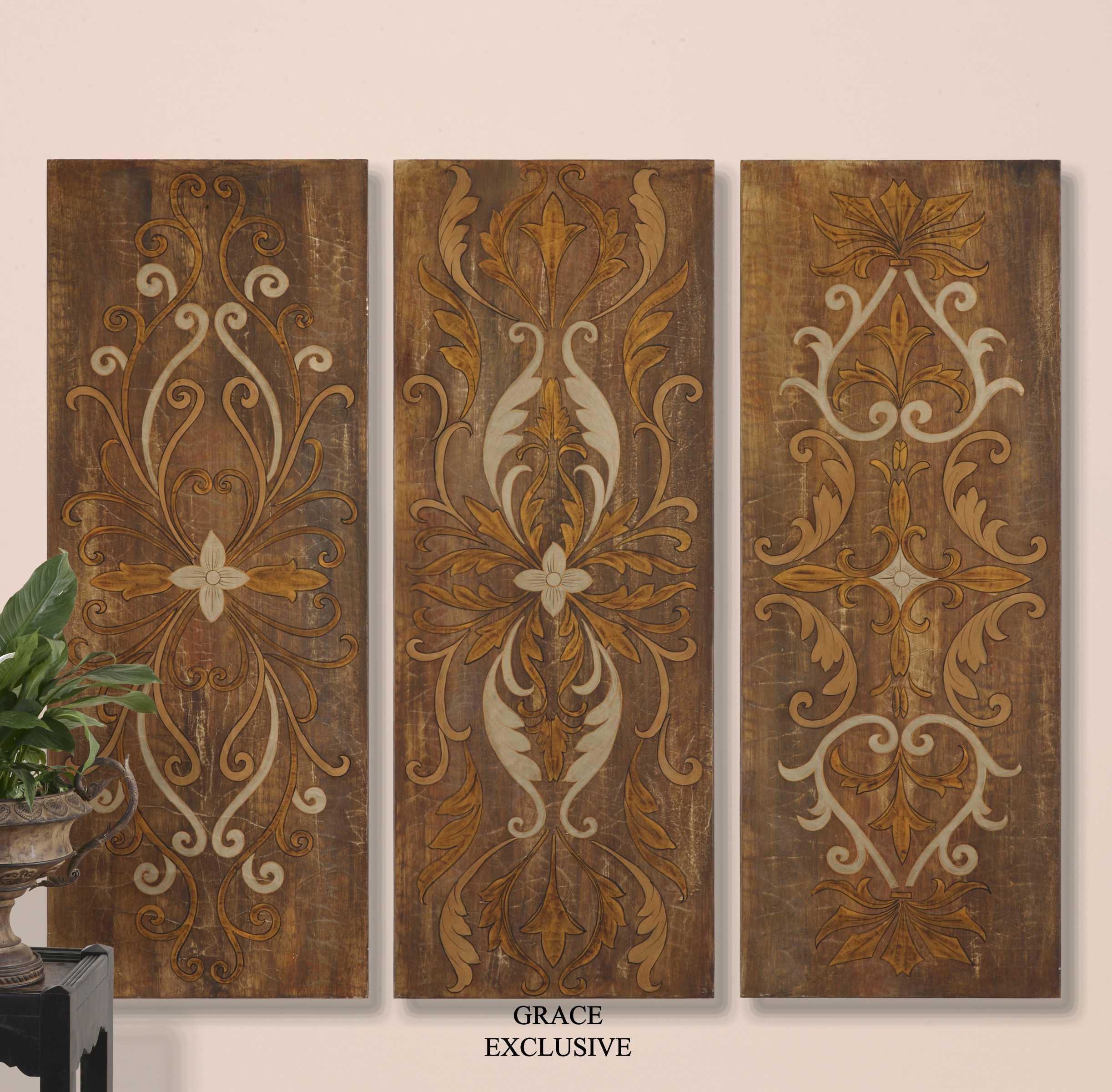 Wall Art Panels : Uttermost elegant swirl panels wall art piece set