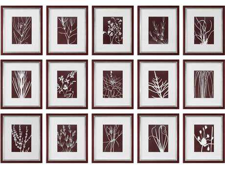 Uttermost Abstract Marsala Floral Prints (15-Piece Set)