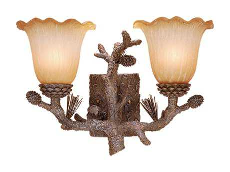 Vaxcel Aspen Pine Tree & Brushed Amber Glass Two-Light Vanity Light