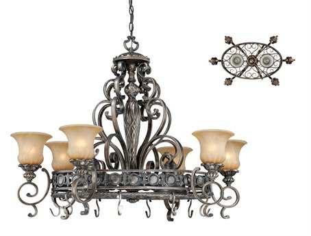 Vaxcel Bellagio Parisian Bronze & Amber Alabaster Glass Eight-Light 42'' Wide 42 x 26 Chandelier