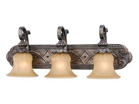 Vaxcel Bellagio Parisian Bronze & Amber Alabaster Glass Three-Light Vanity Light