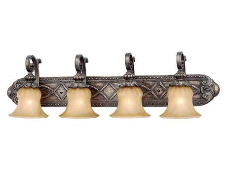 Vaxcel Bellagio Parisian Bronze & Amber Alabaster Glass Four-Light Vanity Light
