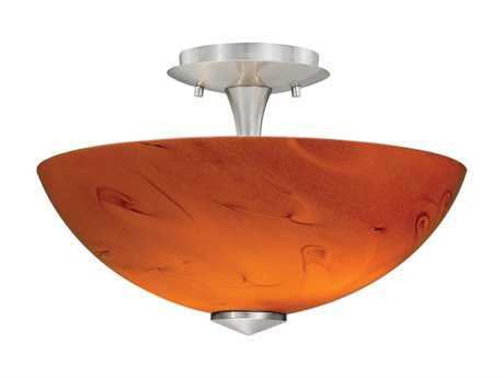 Vaxcel Milano Satin Nickel & Honey Ripple Two-Light 13 Mount Light