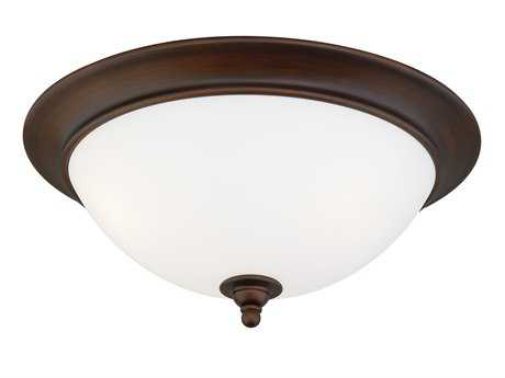Vaxcel Lorimer Venetian Bronze & Frosted Opal Glass Three-Light 16 Flush Mount Light